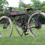 Vintage motor bicycle restoration with custom bicycle frame waterslide decals.